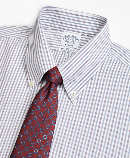 Brooks Brothers Stretch Regent Fitted Dress Shirt, Non-Iron Alternating Triple Stripe