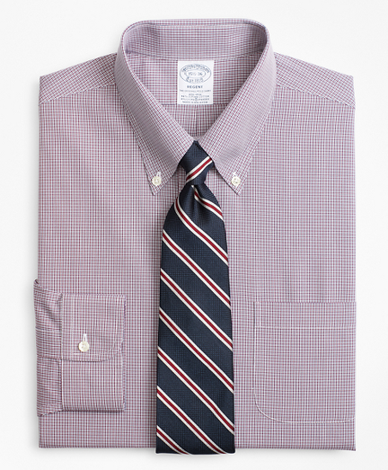 Stretch Regent Fitted Dress Shirt, Non-Iron Micro-Check