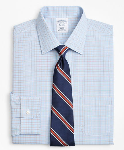 Regent Fitted Dress Shirt, Non-Iron Plaid Framed Overcheck