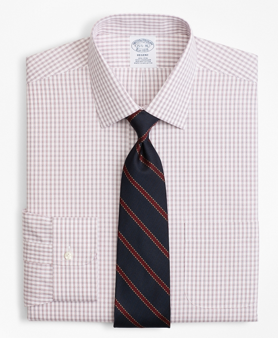 Regent Fitted Dress Shirt, Non-Iron Framed Windowpane Red-Blue
