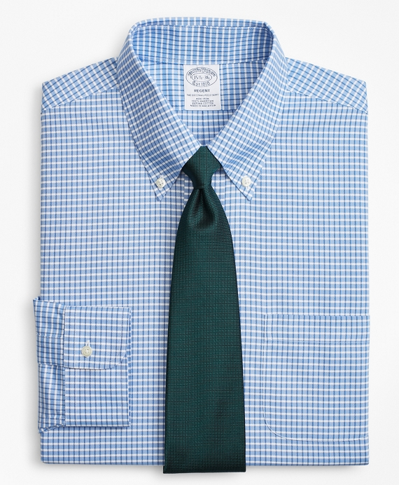 BrooksCool® Regent Fitted Dress Shirt, Non-Iron Ground Check Blue