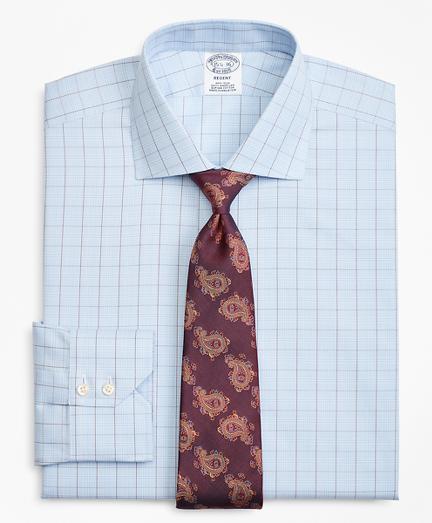 Regent Fitted Dress Shirt, Non-Iron Plaid Overcheck