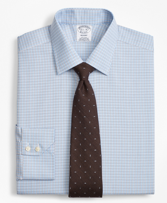 Regent Fitted Dress Shirt, Non-Iron Two-Tone Framed Windowpane Light Blue