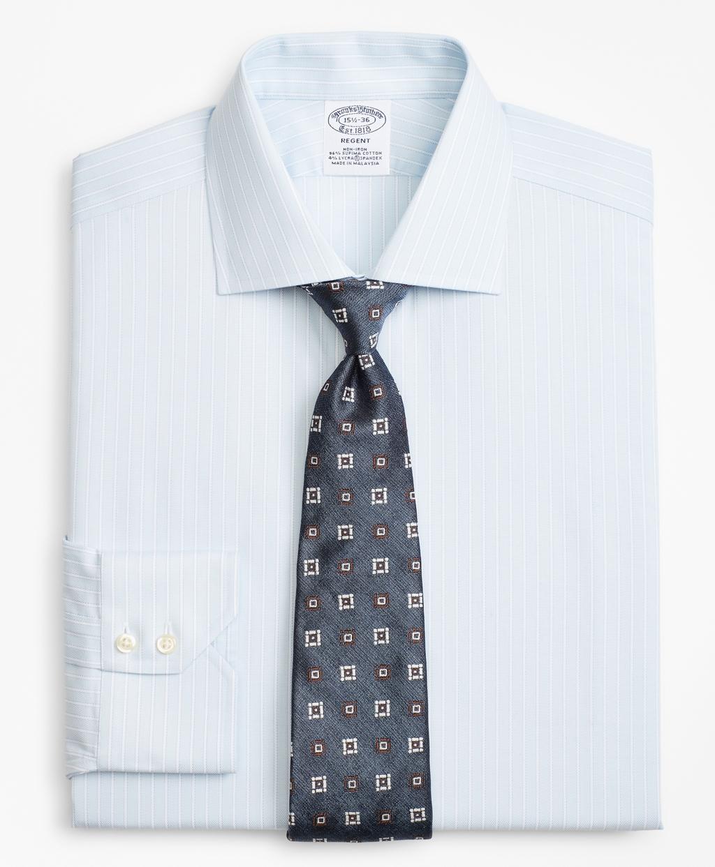 Stretch Regent Fitted Dress Shirt Non Iron Oxford Stripe Brooks