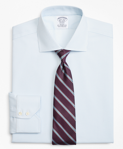 Stretch Regent Fitted Dress Shirt, Non-Iron Royal Oxford Small Windowpane