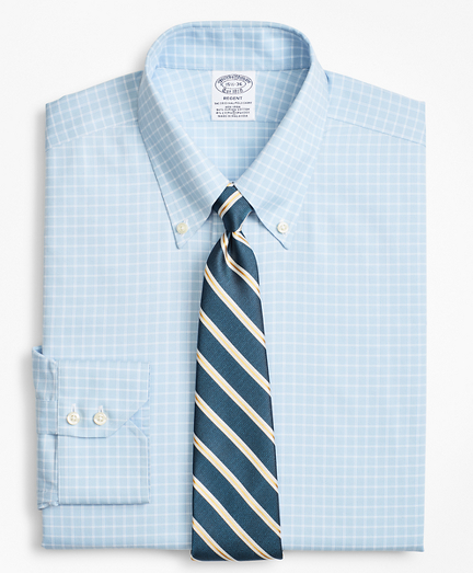 Stretch Regent Fitted Dress Shirt, Non-Iron Royal Oxford Ground Check