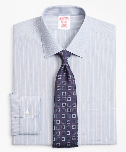 Madison Classic-Fit Dress Shirt, Non-Iron Hairline Ground Alternating Stripe