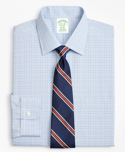 Milano Slim-Fit Dress Shirt, Non-Iron Plaid Framed Overcheck