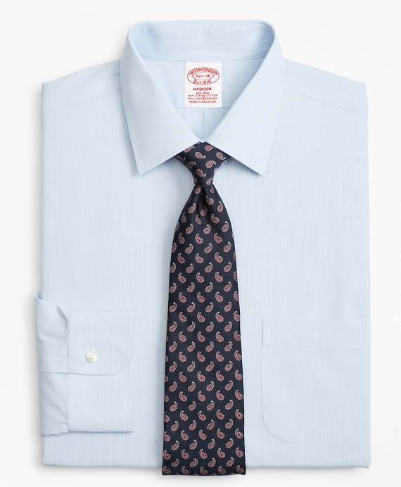 Stretch Madison Relaxed-Fit Dress Shirt, Non-Iron Micro-Stripe Light Blue