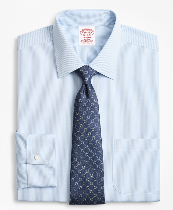 Stretch Madison Classic-Fit Dress Shirt, Pindot Stripe   Brooks Brothers