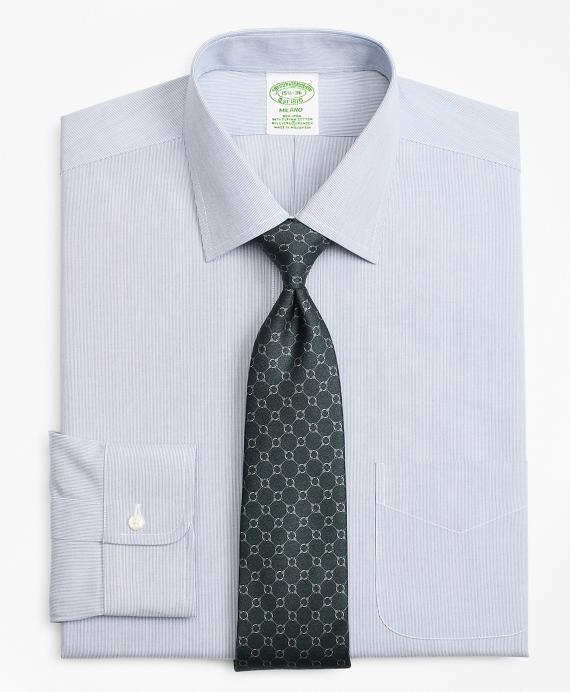 Stretch Milano Slim-Fit Dress Shirt, Non-Iron Hairline Stripe Blue