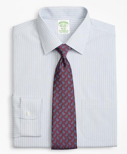 Stretch Milano Slim-Fit Dress Shirt, Non-Iron Alternating Framed Stripe
