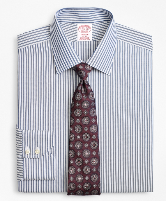 Madison Classic-Fit Dress Shirt, Non-Iron Alternating Twin Stripe Blue