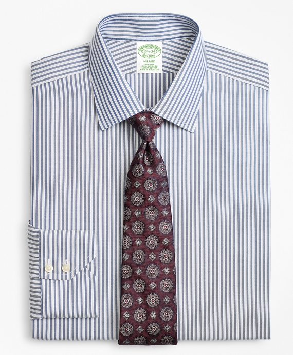 Milano Slim-Fit Dress Shirt, Non-Iron Alternating Twin Stripe Blue