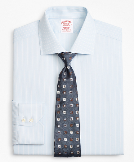 Stretch Madison Classic-Fit Dress Shirt, Non-Iron Royal Oxford Framed Ground Stripe