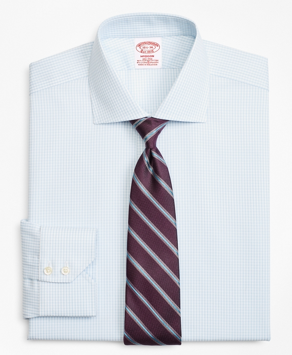 Stretch Madison Classic-Fit Dress Shirt, Non-Iron Royal Oxford Small Windowpane Light Blue