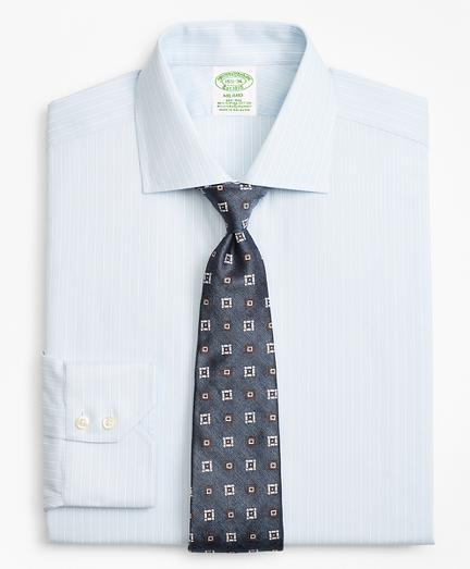 Stretch Milano Slim-Fit Dress Shirt, Non-Iron Royal Oxford Framed Ground Stripe