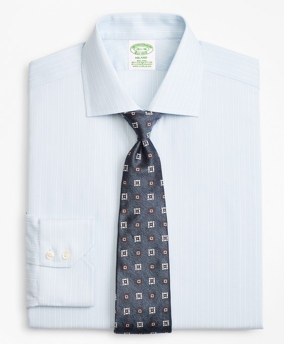 Stretch Milano Slim-Fit Dress Shirt, Non-Iron Royal Oxford Framed Ground Stripe Light Blue