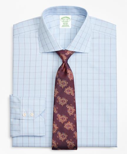 Milano Slim-Fit Dress Shirt, Non-Iron Plaid Overcheck