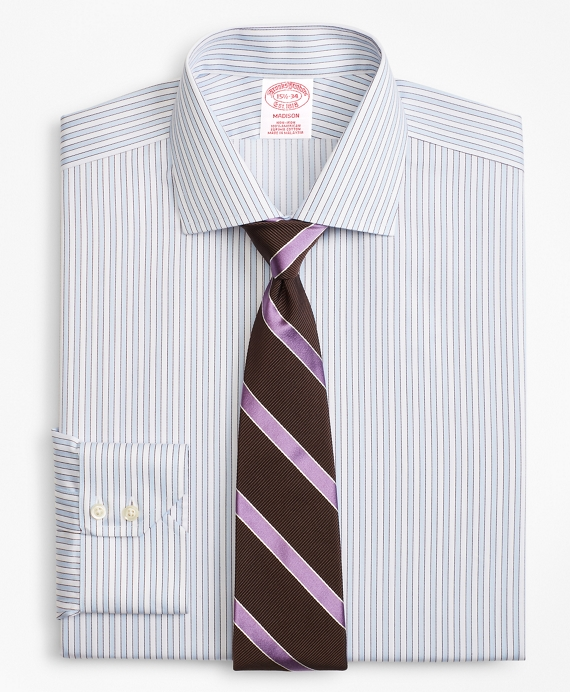 Madison Classic-Fit Dress Shirt, Non-Iron Hairline Framed Stripe Light Blue-Burgundy