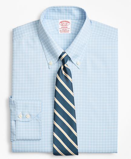 Stretch Madison Classic-Fit Dress Shirt, Non-Iron Royal Oxford Ground Check