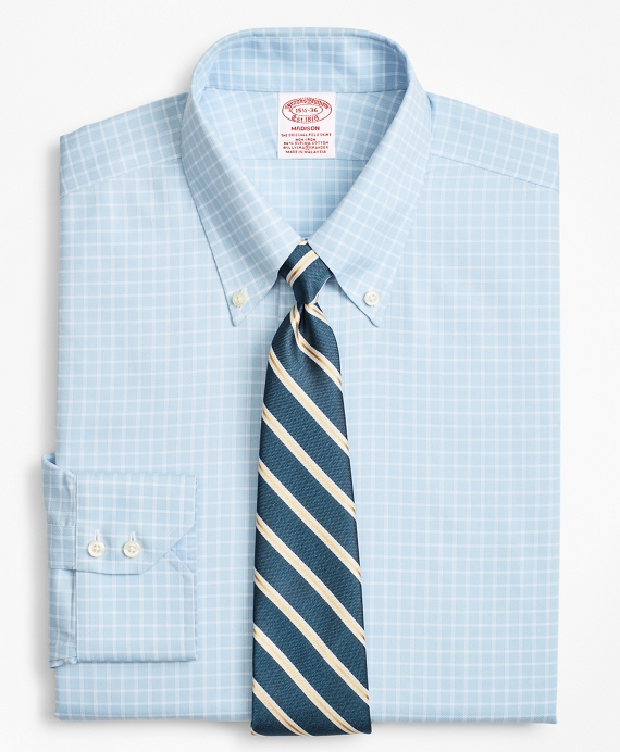 Stretch Madison Classic-Fit Dress Shirt, Non-Iron Royal Oxford Ground Check Light Blue