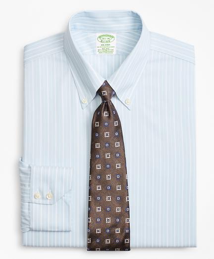 Stretch Milano Slim-Fit Dress Shirt, Non-Iron Royal Oxford Alternating Stripe