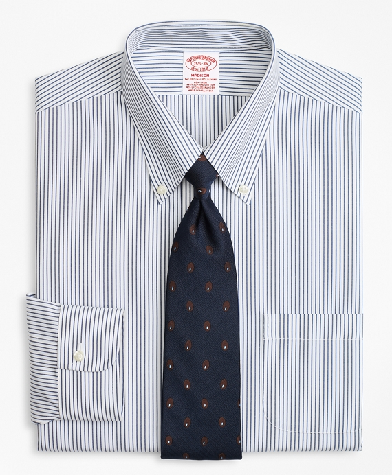 Stretch Madison Classic-Fit Dress Shirt, Non-Iron Pencil Stripe Blue