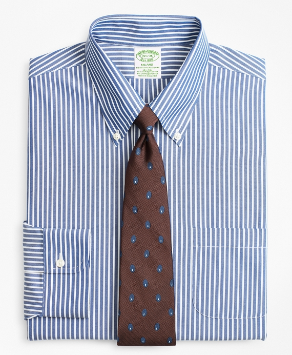 Stretch Milano Slim-Fit Dress Shirt, Non-Iron Ground Stripe Blue