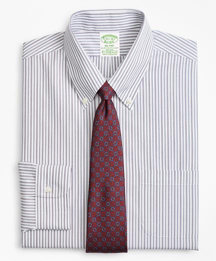 Stretch Milano Slim-Fit Dress Shirt, Non-Iron Alternating Triple Stripe