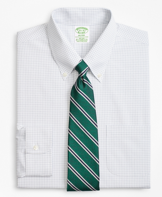 Stretch Milano Slim-Fit Dress Shirt, Non-Iron Windowpane   Brooks Brothers