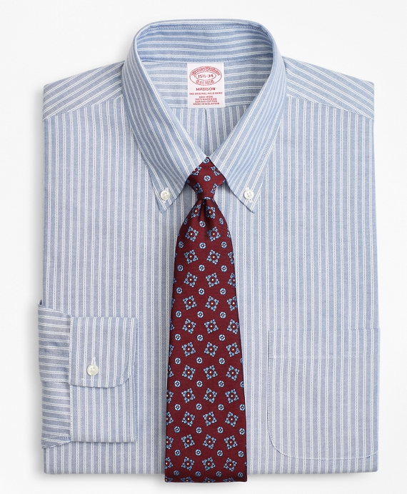 BrooksCool® Madison Classic-Fit Dress Shirt, Non-Iron Double Framed Stripe Blue