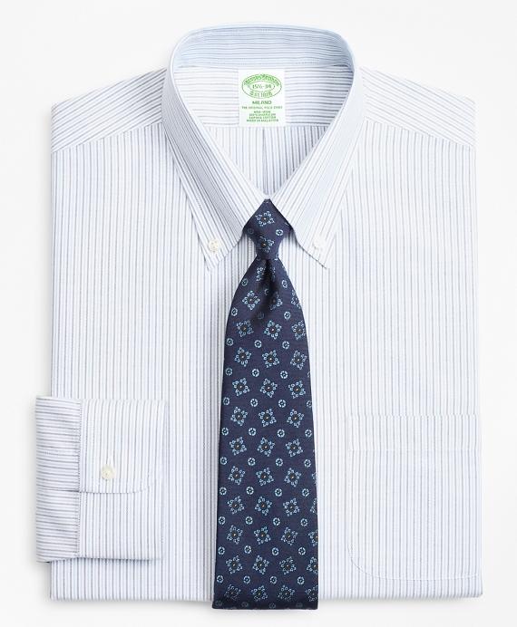 BrooksCool® Milano Slim-Fit Dress Shirt, Non-Iron Alternating Stripe Blue