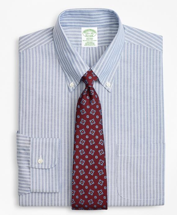 BrooksCool® Milano Slim-Fit Dress Shirt, Non-Iron Double Framed Stripe Blue
