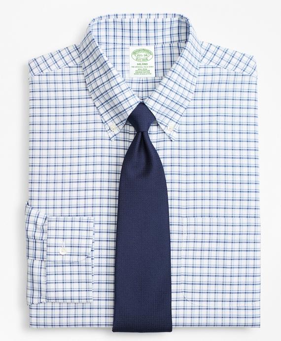 BrooksCool® Milano Slim-Fit Dress Shirt, Non-Iron Sidewheeler Windowpane Blue