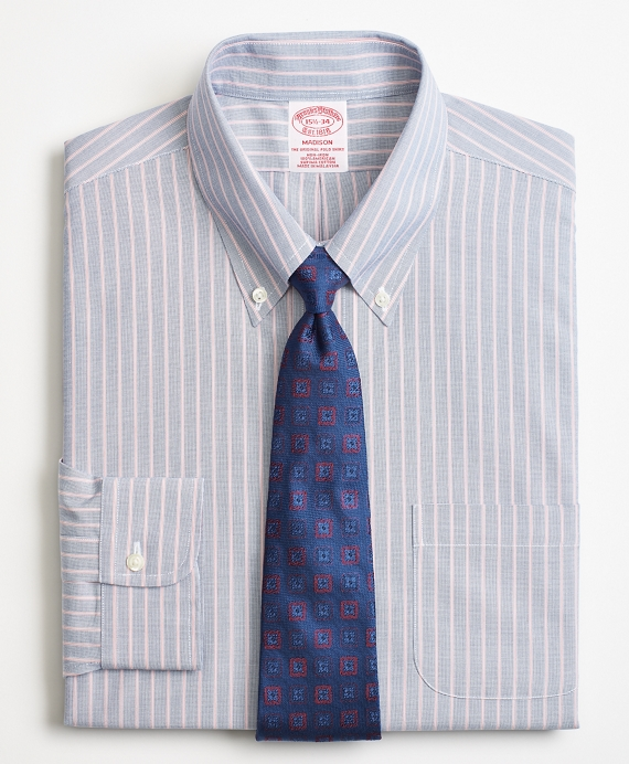 Madison Classic-Fit Dress Shirt, Non-Iron Double Stripe Blue-Red