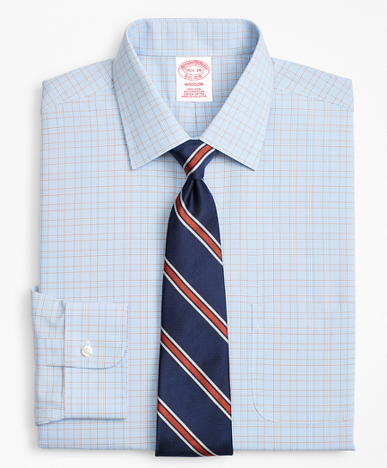 Traditional Relaxed-Fit Dress Shirt, Non-Iron Plaid Framed Overcheck