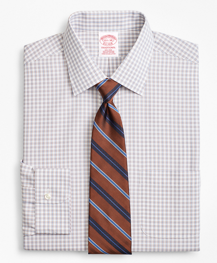 Traditional Relaxed-Fit Dress Shirt, Non-Iron Framed Windowpane