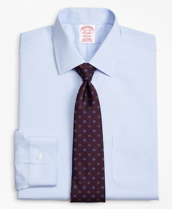 Madison Classic-Fit Dress Shirt, Non-Iron Dobby Stripe Light Blue
