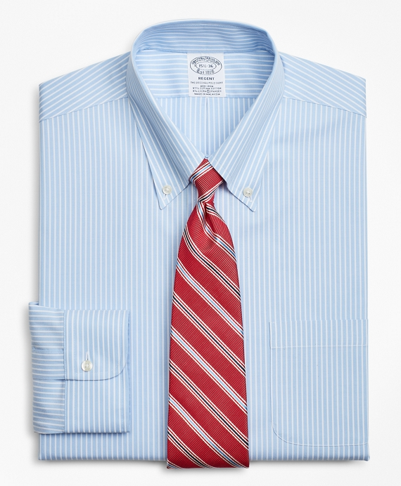 Stretch Regent Fitted Dress Shirt, Non-Iron Stripe Blue
