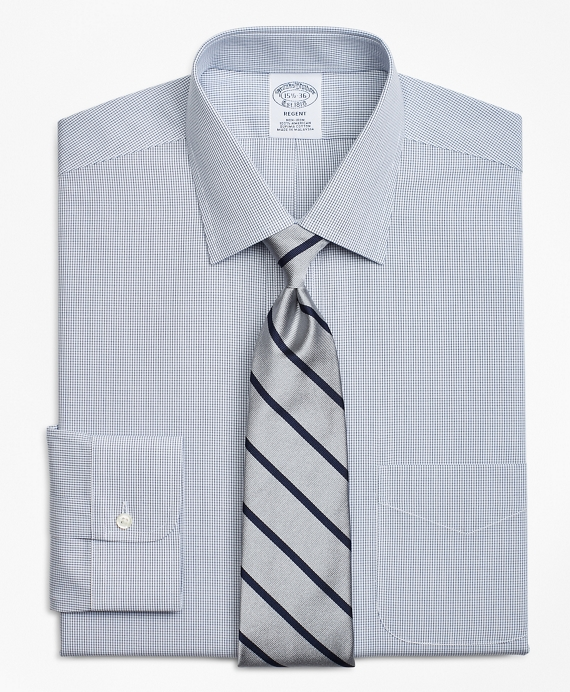 Regent Fitted Dress Shirt, Non-Iron Check Sodalite
