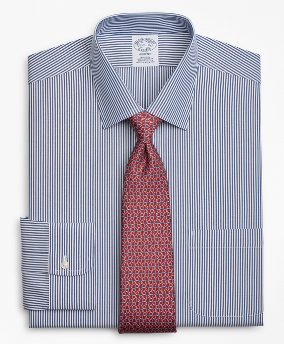 Regent Fitted Dress Shirt, Non-Iron Stripe Navy