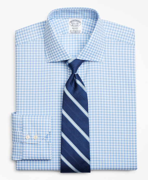 Stretch Regent Fitted Dress Shirt, Non-Iron Royal Oxford Gingham Blue