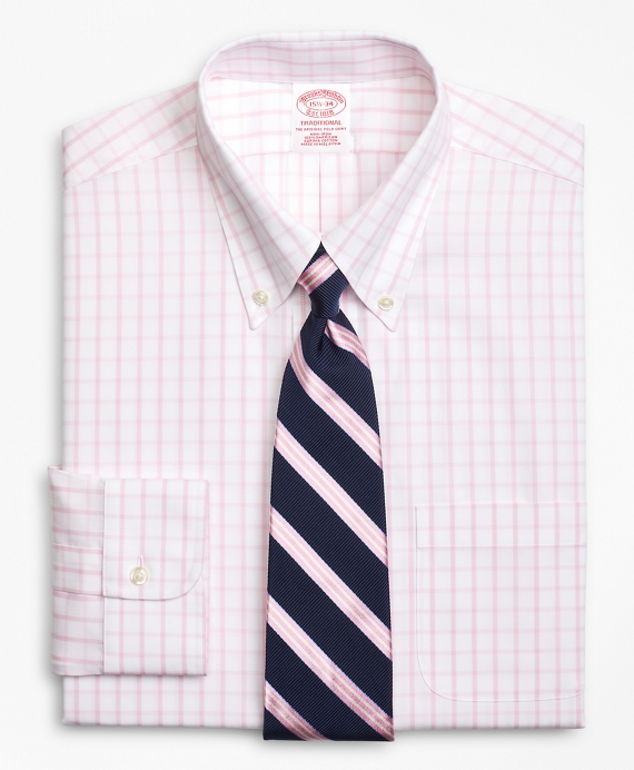 Traditional Relaxed-Fit Dress Shirt, Non-Iron Windowpane Pink