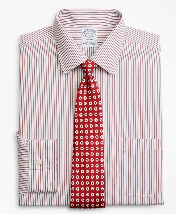Stretch Regent Fitted Dress Shirt, Non-Iron Stripe Red