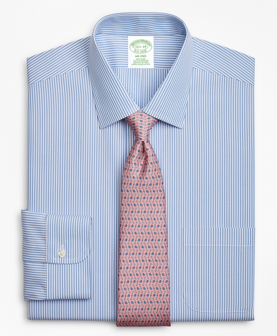 Milano Slim-Fit Dress Shirt, Non-Iron Stripe Blue