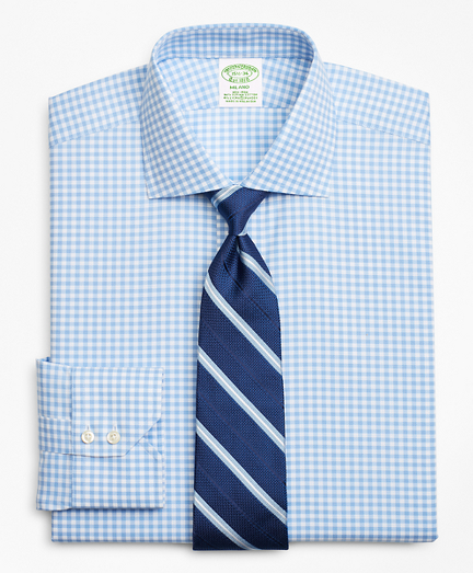 Stretch Milano Slim-Fit Dress Shirt, Non-Iron Royal Oxford Gingham