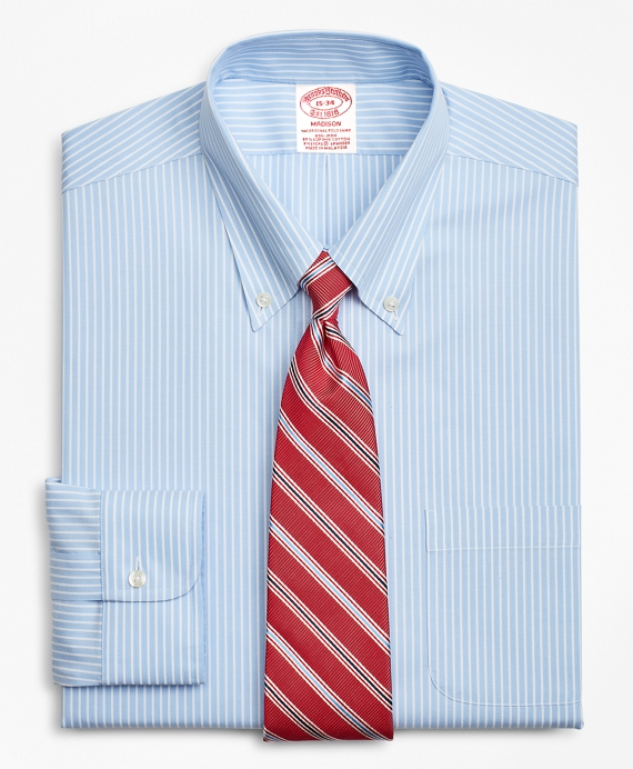 Stretch Madison Classic-Fit Dress Shirt, Non-Iron Stripe Blue