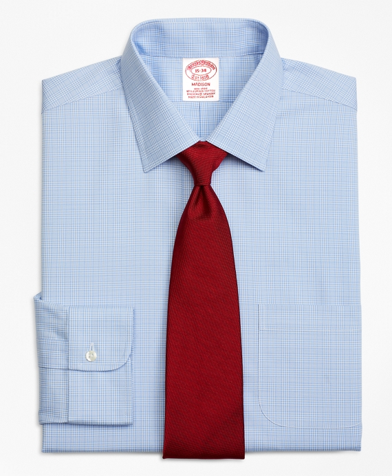 Stretch Madison Relaxed-Fit Dress Shirt, Non-Iron Glen Plaid Blue
