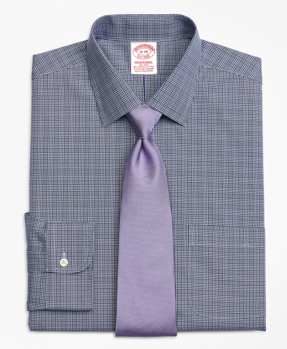 Stretch Traditional Extra-Relaxed-Fit Dress Shirt, Non-Iron Glen Plaid Navy